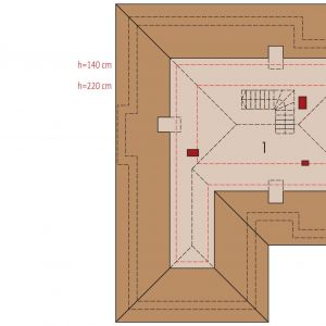 PODDASZE:  1. korytarz - 4,17 2. sypialnia - 14,55 3. sypialnia - 15,89 4. łazienka - 9,44 5. pom. gospodarcze - 3,50 6. strych - 3,95