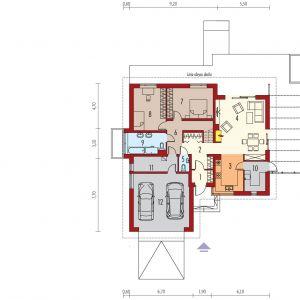 PARTER: 1. wiatrołap - 4,61 2. hol + schody - 9,44 3. kuchnia - 10,24 4. pokój dzienny - 32,52  5. toaleta - 1,55 6. korytarz - 5,56 7. sypialnia - 14,98 8. sypialnia - 15,36 9. łazienka - 7,58 10. garderoba - 4,50 11. pom. gospodarcze - 3,39 12. kotłownia - 6,70 13. garaż - 33,14