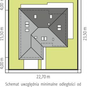 Usytuowanie domu na działce. Dom Astrid II G2. Projekt: arch. Artur Wójciak. Fot. Pracownia Projektowa Archipelag