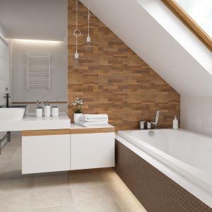 Kolekcja Loft to połączenie białych płytek w wersji matowej i błyszczącej z płytkami o powierzchni surowej cegły i drewna. Fot. Paradyż Classica