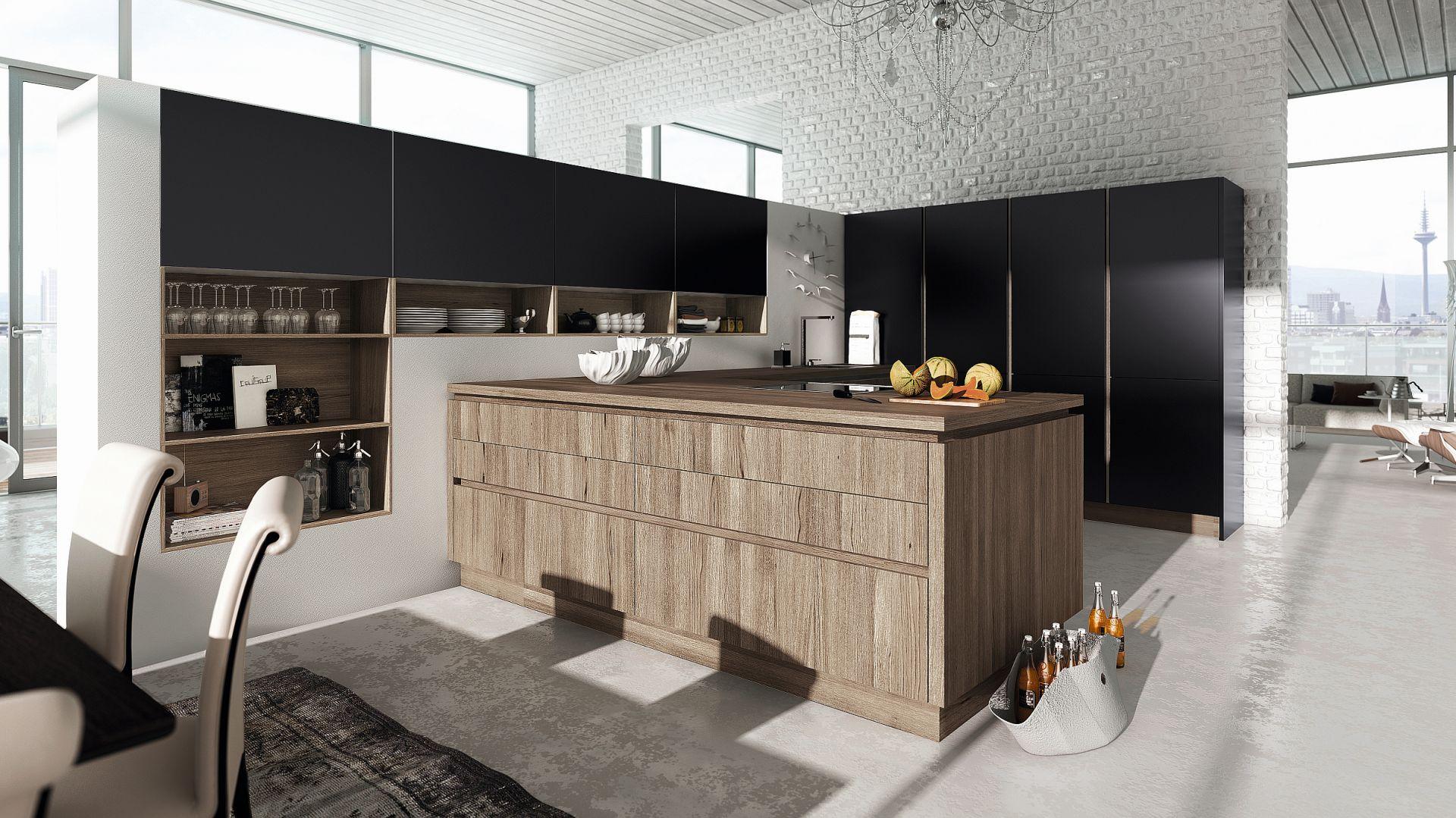 Alno – nowoczesna, minimalistyczna zabudowa meblowa zaprojektowana z myślą o wnętrzach otwartych dyskretnie wtapia się w tło. Pojemna zabudowa, którą uzupełnia wysoki półwyspem zapewniają komfort na co dzień. Fot. Alno