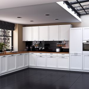 Arvada - na powierzchni szafek znajdują się geometryczne tłoczenia, które tworzą atrakcyjny efekt wizualny. Dzięki jasnemu kolorowi meble z powodzeniem można zastosować w kuchni o niewielkiej powierzchni, która zyska w ten sposób optyczne rozjaśnienie. Fot. Classen