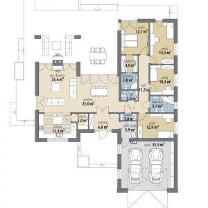 PARTER: 153,50 m2 1. wiatrołap – 6,80 m2 2. jadalnia – 22,00 m2 3. kuchnia – 13,10 m2 4. spiżarnia – 3,00 m2 5. pokój dzienny – 25,60 m2 6. hol – 11,50 m2 7. pralnia – 1,60 m2 8. pokój – 12,90 m2 9. łazienka – 5,70 m2 10. pokój – 10,30 m2 11. pokój – 14,30 m2 12. pokój – 12,70 m2 13. garderoba – 4,00 m2 14. łazienka – 3,80 m2 15. wc – 2,30 m2 16. pom. gospodarcze – 3,90 m2 17. garaż* – 35,50 m2 *pomieszczenia niewliczone do powierzchni użytkowej