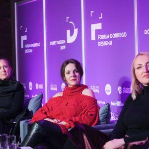 Kobiety w designie.  Od lewej: Justyna Smolec, Krystyna Łuczak-Surówka, Katarzyna Kraszewska.