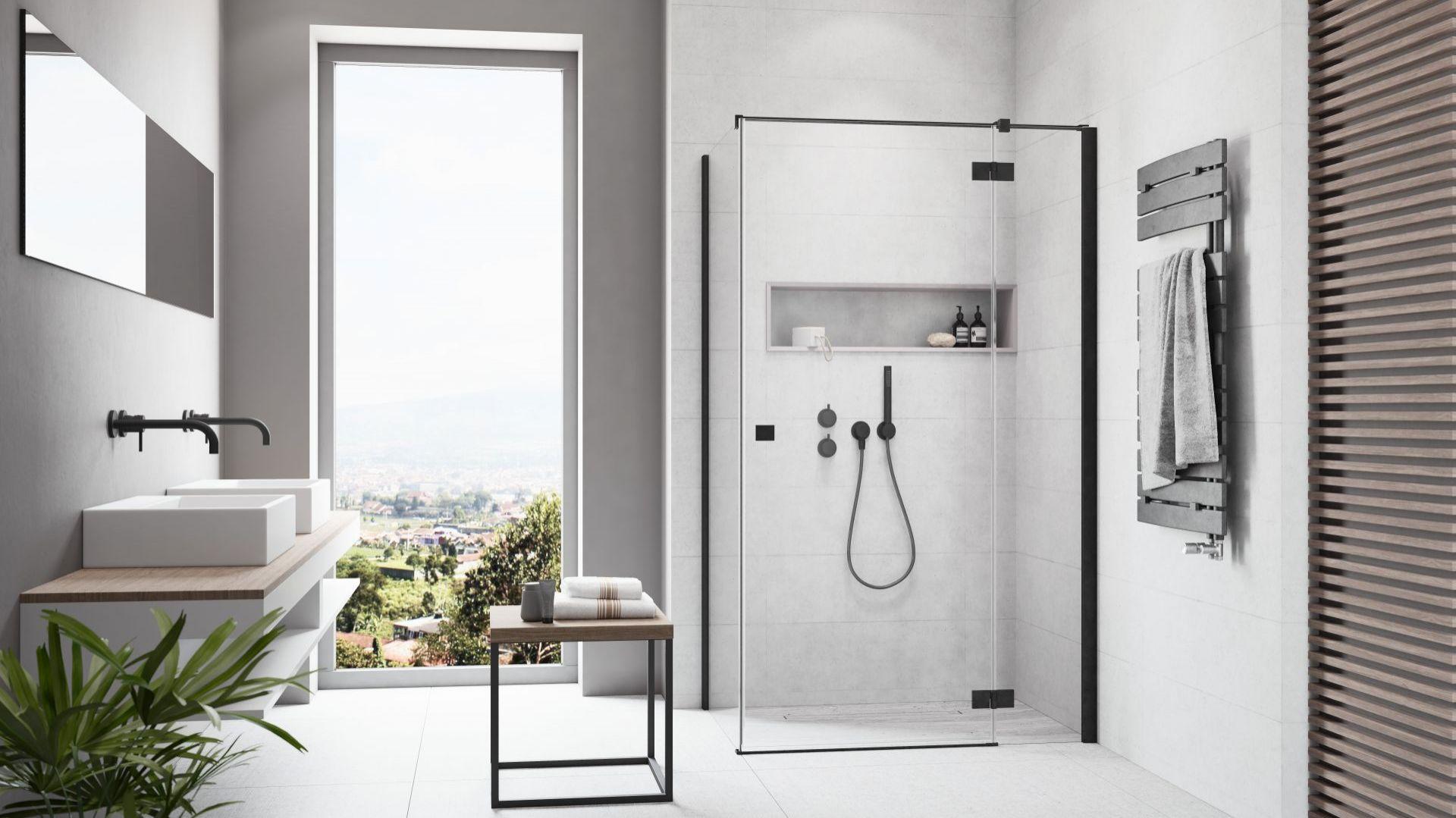 NAGRODA GŁÓWNA ex aequo:  kabina prysznicowa Essenza New KDJ Black/Radaway. Kategoria: Przestrzeń Łazienki