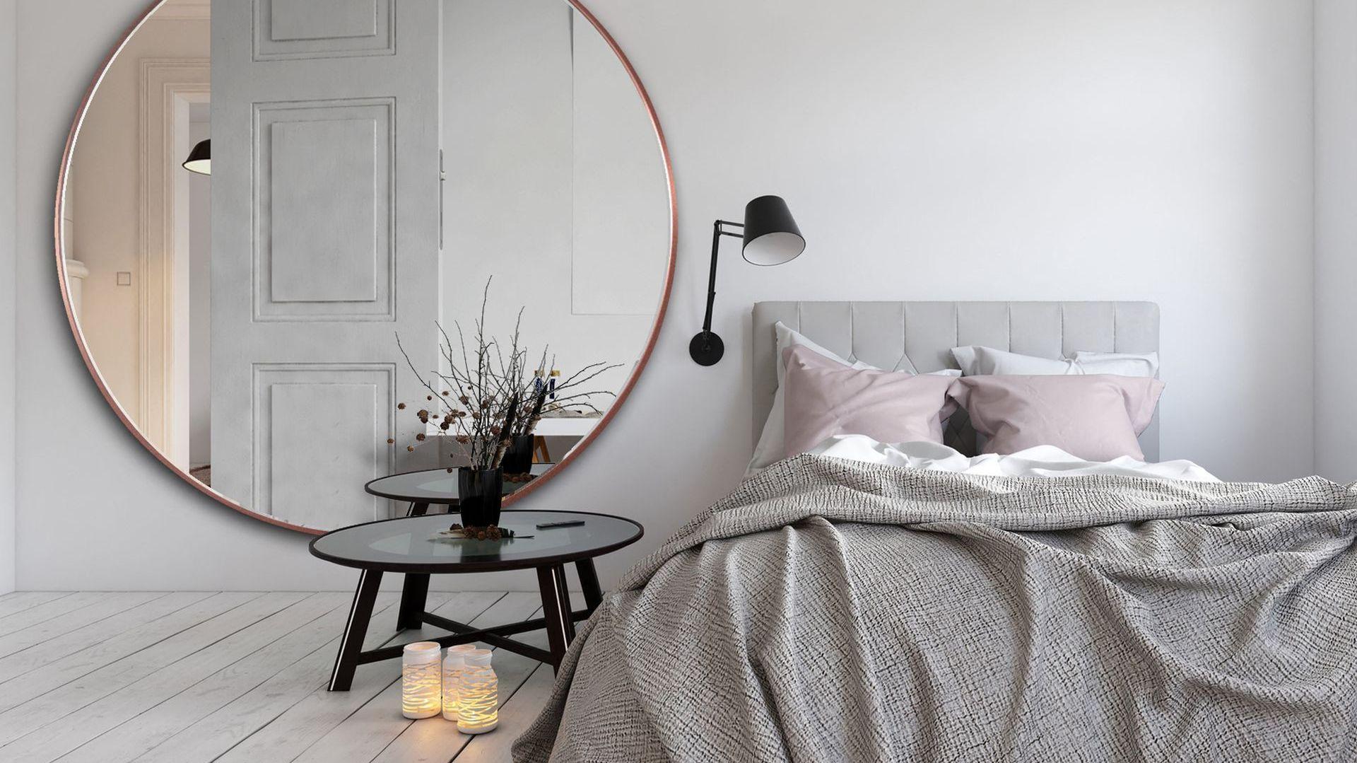 NAGRODA GŁÓWNA: Scandi Slim - duże, okrągłe lustro w cienkiej ramce/GieraDesign. Kategoria: Przestrzeń Sypialni i Garderoby
