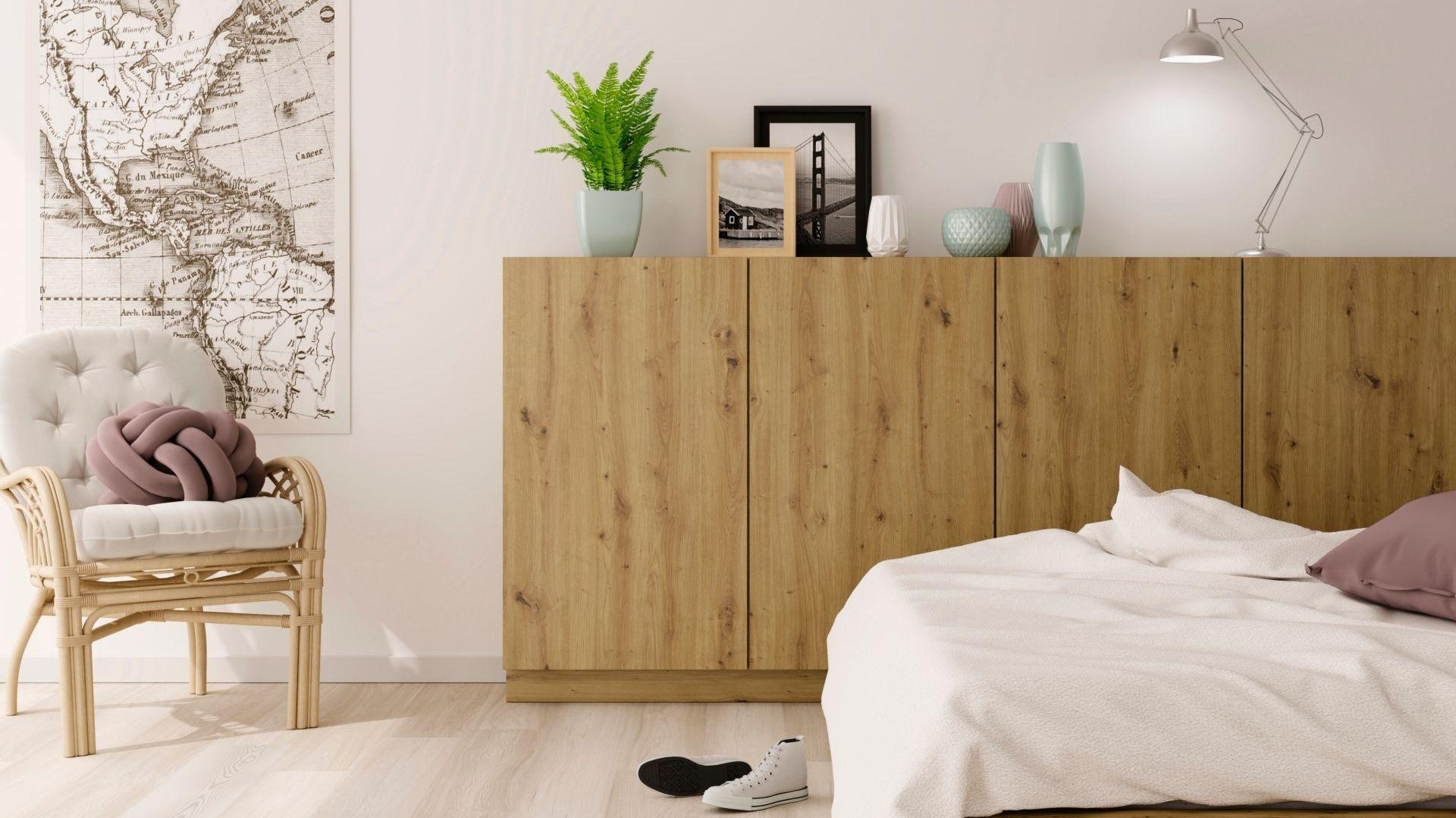Rustykalny charakter sypialni uzyskamy przez zastosowanie dekoru Artisan. Fot. Interprint