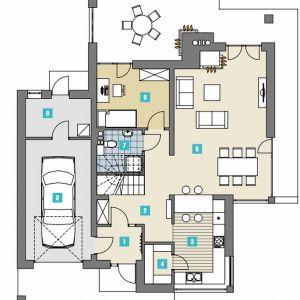 PARTER:  1. wiatrołap - 3,80 2. hol - 10,40 3. kuchnia - 11,30 4. spiżarnia - 2,80 5. pokój dzienny z jadalnią - 32,40 6. pokój - 10,70 7. łazienka - 3,50 8. garaż - 19,60 9. pom. gospodarcze - 6,20