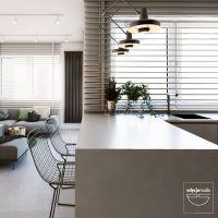 Proste formy ujęte w czarne, metalowe ramy, loftowe lampy i ostrość kontrastu czerni i bieli równoważy miękkość tkanin oraz ciepło butelkowej zieleni, która konsekwentnie pojawia się w detalach i dodatkach. Projekt i wizualizacje: Edyta Stań (Edycja Studio)