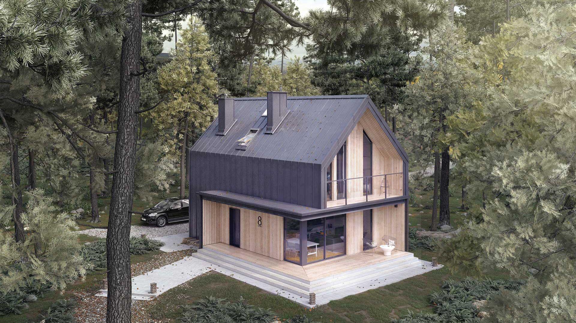 Malutki dr-S to nowoczesny projekt domu o powierzchni blisko 90 metrów, który wyróżnia się niebanalną elewacją i licznymi przeszkleniami. Projekt: arch. Tomasz Sobieszuk. Fot. Domy w Stylu