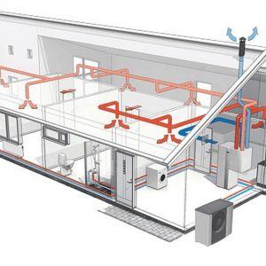 Schemat działania rekuperatora NIBE ERS z powietrznymi pompami ciepła NIBE. Fot. Nibe-Biawar