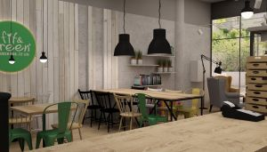 Sala jadalna restauracji w Sopocie. Projekt i wizualizacja: Izabela Jurkiewicz