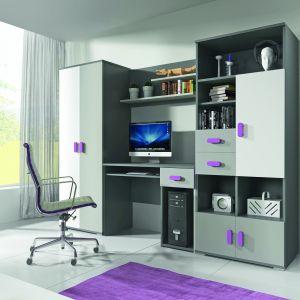 W skład zestawu Tom wchodzą: biurko, pojemna szafa na ubrania oraz półki na zabawki czy książki. Meble, dzięki swoim kolorowym uchwytom, wpasują się w przestrzeń każdego pokoju. To zestaw funkcjonalny, pozwalający na dobrą organizację, utrzymany w przyjemnych kolorach i wykonany z wysokiej jakości materiałów. Fot. Idźczak-Meble
