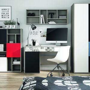 Cechą charakterystyczną kolekcji Laser jest możliwość wyboru jednej spośród trzech wersji kolorystycznych frontów, które można dowolnie ze sobą zestawiać – Chili Red, Zgaszony Błękit oraz wyrazisty Dubai Style. Każdy z nich doskonale komponuje się z szarym korpusem i bazowymi, białymi i czarnymi frontami. Fot. Meble Wójcik