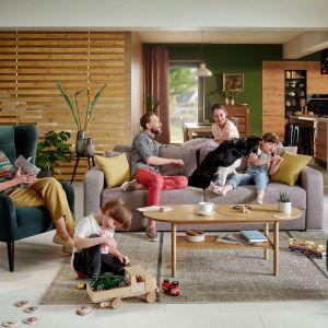 Sofa Farol Lux 3DL o prostej stylistyce ma wysokie, zmiękczone podłokietniki oraz poduszki oparciowe. Z funkcją spania i pojemnikiem na pościel. Fot. Black Red White,