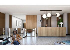 Modernizacja części reprezentacyjnych budynków kompleksu biurowego na warszawskim Mokotowie - lobby w budynku Saturn. Projekt i wizualizacje: JMW Architekci