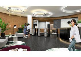 Modernizacja części reprezentacyjnych budynków kompleksu biurowego na warszawskim Mokotowie - lobby w budynku Sirius. Projekt i wizualizacje: JMW Architekci