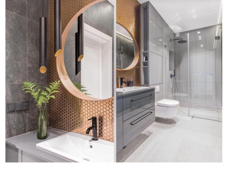 Łazienka wpisuje się w minimalistyczną stylistykę mieszkania. Projekt: Dominika Wojciechowska. Fot. Marta Behling/ Pion Poziom