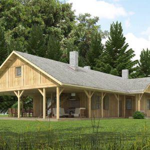 Dom zaprojektowany z myślą o inwestorach, którym potrzebny jest dom do wypoczynku, na wakacje lub weekendowe wyjazdy o każdej porze roku. Obszerna weranda potraktowana została jako przedłużenie funkcji dziennej na zewnątrz. Projekt: N5 Drewniany z duża werandą. Fot. S&O Projekty Sylwii Strzeleckiej