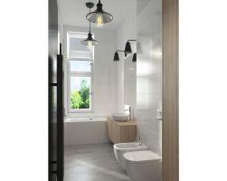 Mieszkanie w szarościach - łazienka. Projekt: Ewelina Przewodowska-Ryłka (TETE concept). Wizualizacja: Pracownia Projektowa DCK