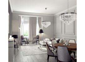 Mieszkanie w szarościach - salon. Projekt: Ewelina Przewodowska-Ryłka (TETE concept). Wizualizacja: Pracownia Projektowa DCK