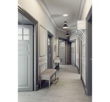 Mieszkanie w szarościach - korytarz. Projekt: Ewelina Przewodowska-Ryłka (TETE concept). Wizualizacja: Pracownia Projektowa DCK