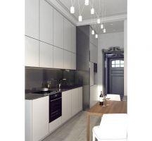 Mieszkanie w szarościach - kuchnia. Projekt: Ewelina Przewodowska-Ryłka (TETE concept). Wizualizacja: Pracownia Projektowa DCK