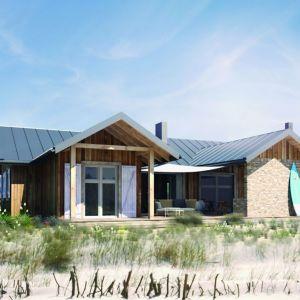 Typowo letni dom , ale zaprojektowany tak, żeby można było korzystać z niego przez cały rok. Lekka, drewniana konstrukcja, prosta architektura, nieskomplikowana realizacja. Można zrealizować go w dowolnej lokalizacji. Dom WD1 – z letnią kuchnią na tarasie. Projekt. arch. Sylwia Strzelecka. Fot. S&O Projekty Sylwii Strzeleckiej