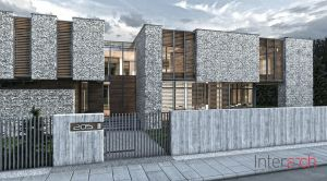 Kamienny dom w otulinie Puszczy Kampinoskiej - widok od frontu. Projekt: Inter-Arch Architekci