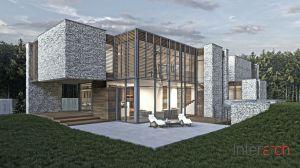 Kamienny dom w otulinie Puszczy Kampinoskiej - widok na tył budynku. Projekt: Inter-Arch Architekci