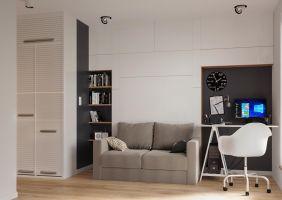 Na kilkunastu metrach kwadratowych udało się zachować pełną funkcjonalność przestrzeni, jednocześnie dbając o jej estetykę i ergonomię. Projekt: The Space
