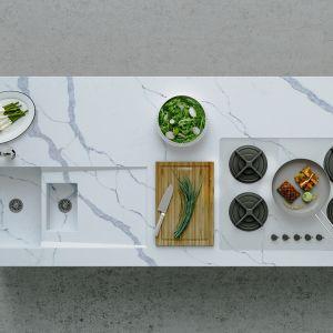 Nowoczesna kuchnia - blaty z konglomeratu kwarcowego. Fot. TechniStone