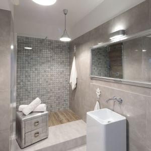 Łazienka z prysznicem walk-in. Projekt: Wioleta Wójcik-Maciuszek. Fot. Bartosz Jarosz