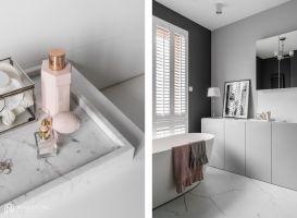 Wrażenie luksusu i ponadczasowej elegancji potęguje zastosowana kolorystyka: od bieli, poprzez odcienie szarości, aż po grafitową czerń. Projekt: MAKA studio. Fot. Foto&Mohito