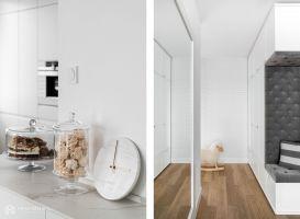 Aranżację subtelnie doprawiono szczyptą glamour'u w postaci kuchennych dodatków. Projekt: MAKA studio. Fot. Foto&Mohito