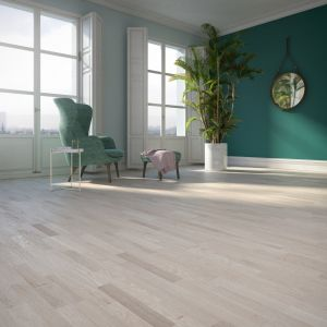 Podłoga z drewna - zobacz co będzie modne w 2019 roku: Dąb Villa 3R Ivory & Cream Jeans Collection. Fot. Baltic Wood