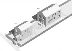 EcoFlex - przykład racjonalnej inwestycji na bardzo wąskiej, niewielkiej działce miejskiej. Projekt i wizualizacje: BXBstudio Bogusław Barnaś