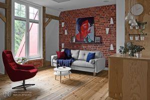 Podłogę w mieszkaniu pokrywają oryginalne deski, odświeżone i częściowo uzupełnione. Projekt: Aleksandra Kurc, Daria Pawlaczyk, Wiktor Kurc. Fot. MAKA Studio