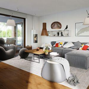W prezentowanej aranżacji wnętrza rządzi styl skandynawski. Dom Alison IV G2 Energo Plus. Projekt: arch. Artur Wójciak. Fot. Pracownia Projektowa Archipelag