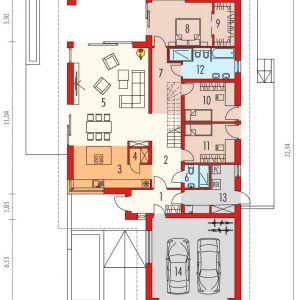 Rzut parteru. Dom Alison IV G2 Energo Plus. Projekt: arch. Artur Wójciak. Fot. Pracownia Projektowa Archipelag