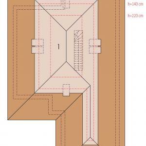 Rzut poddasza. Dom Alison IV G2 Energo Plus. Projekt: arch. Artur Wójciak. Fot. Pracownia Projektowa Archipelag