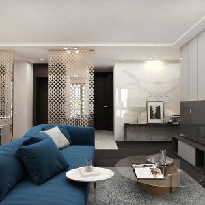 W apartamencie pojawiają się wyjątkowe meble, stylizowane na lata 30. ubiegłego wieku, wysokiej jakości materiały, wyeksponowane ciekawymi dodatkami. Projekt i zdjęcia: pracownia architektoniczna Wyrzykowski Studio