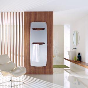 Grzejnik dekoracyjny Zehnder Vitalo Spa z płaskim frontem aluminiowym. Z jednym lub dwoma wycięciami do zawieszania ręczników. Dostępny z zasilaniem wodnym lub elektrycznym, w kolorach z palety barw Zehnder. Fot. Zehnder