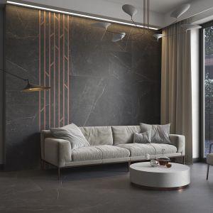 Klasyczny salon w kolorach ciemnego kamienia to zasługa płytek z kolekcji Barro. Fot. Ceramika Paradyż