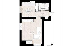 Niewielkie, 38-metrowe mieszkanie mieści się na warszawskim Mokotowie. Projekt: Natalia Juszczyk. Fot. Xicorra