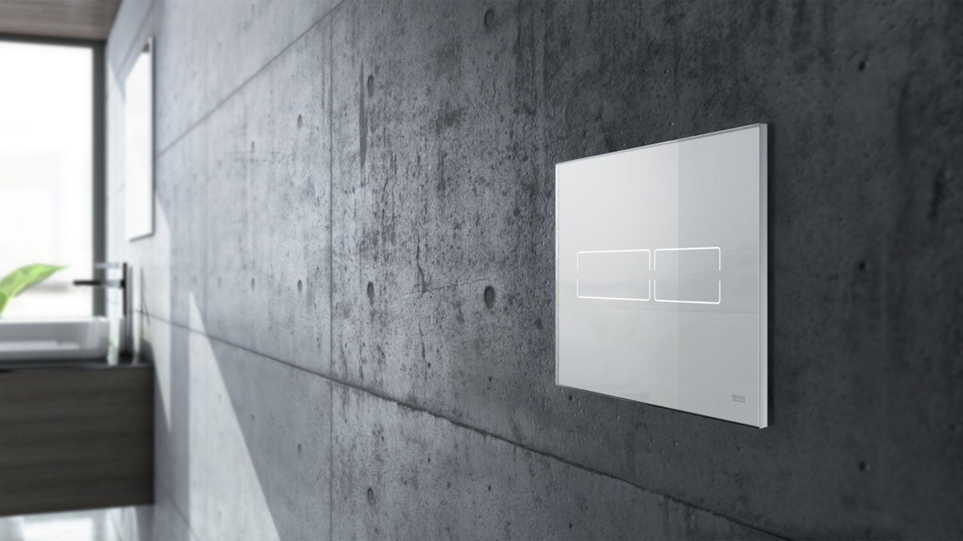 Przycisk TECElux mini w kolorze białym. Fot. Tece