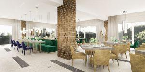 Przestrzeń dekorują wiszące, lustrzane tafle w kształcie okręgów. Odbija się w nich wnętrze wystrefowane kolumnami z dekoracją z mosiężnych kratownic. Projekt i wizualizacje: Katarzyna Kraszewska