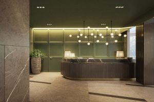 Przepiękna kolorystyka minerałów zachwyciła architektkę, która postanowiła niesamowite zielenie, ciepłe burgundy, błękity i przydymione brązy przenieść do hotelowego lobby. Projekt i wizualizacje: Katarzyna Kraszewska
