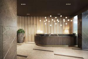 Hotelowe lobby zaprojektowano ze szczególną dbałością o każdy detal. Projekt i wizualizacje: Katarzyna Kraszewska