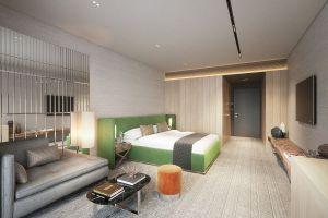 Szerokie, wygodne łóżka z wysokimi zagłówkami, miękkie wygładziny, tkaniny o przyjemnych splotach i nastrojowe oświetlenie. Projekt i wizualizacje: Katarzyna Kraszewska